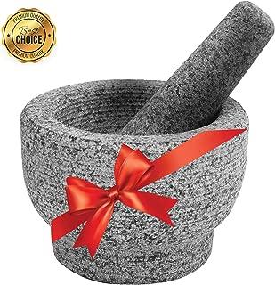 Mortar and Pestle Set, Unpolished Genuine Granite Molcajete Grinder for Guacamole, Herbs, Pesto, Salsa, Spices, Seasonings, 6 Inch, 2 Cups Capacity