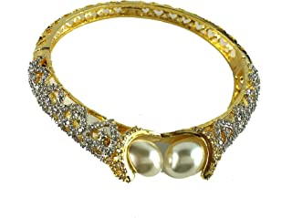 Aradhya Big Girls' High Grade American Diamond Gold Plated Pearl Bracelet