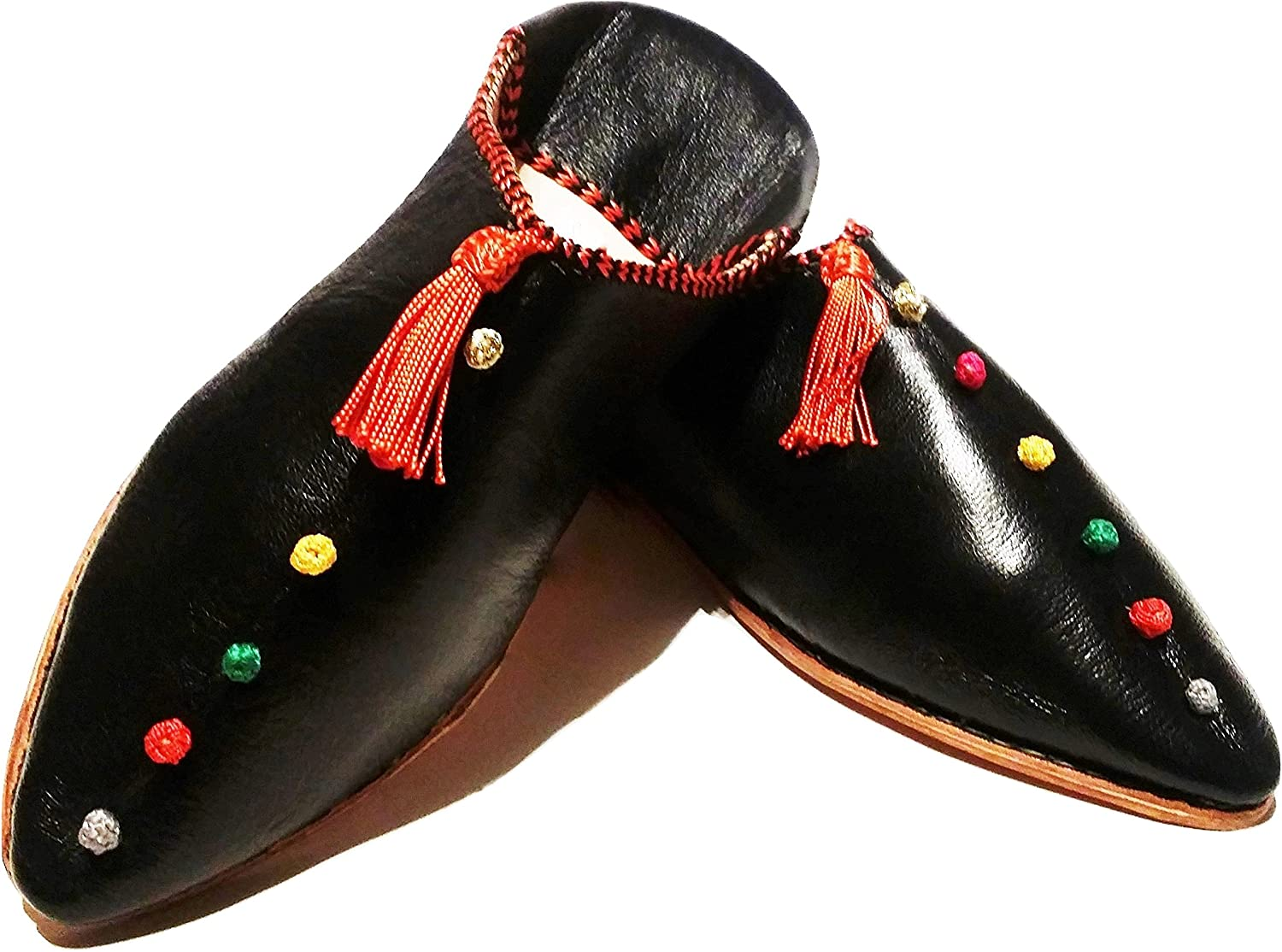 Mgoldccan Babouche Flat Leather Handmade shoes - City Style in Berber Black (Ships from Within USA)
