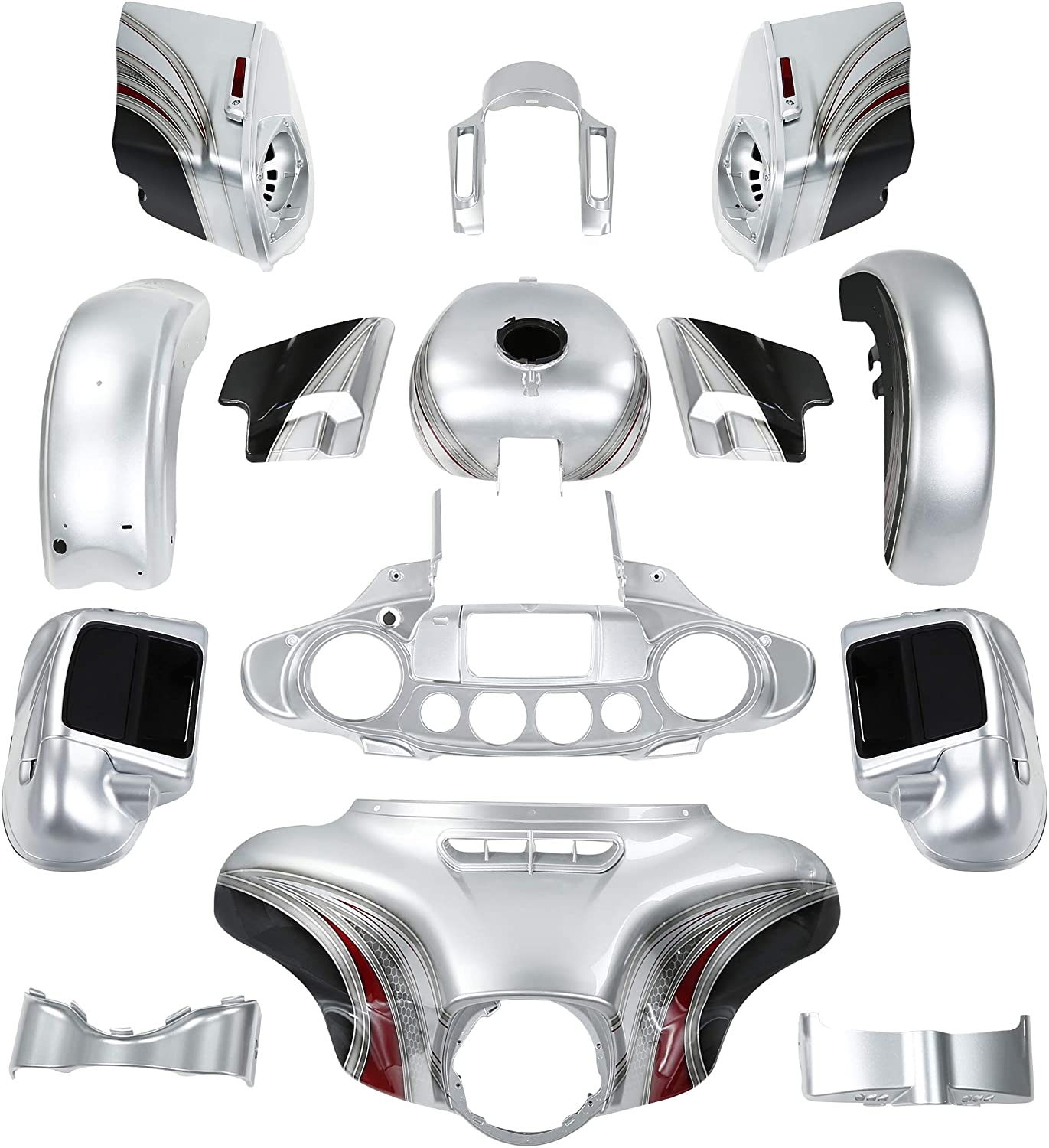 Shipping included Motorcycle Complete Body Work Fairings discount Saddlebags Batwing Custom