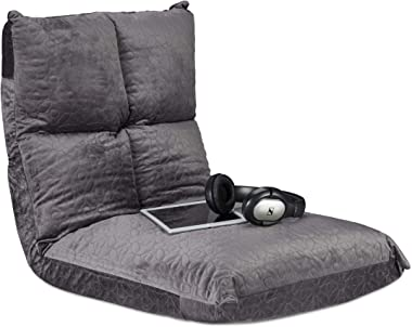 Relaxdays, Gris Coussin siège, Chaise, Yoga, Gaming, Sol, Moelleux, Confortable, Pliable, Flex, 6 Positions, Max. 100 kg, Mou