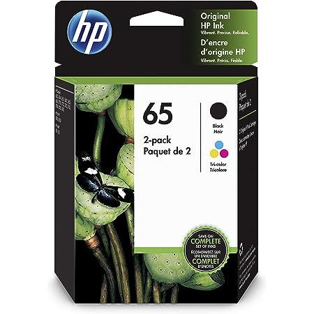 HP 65   2 Ink Cartridges   Works with HP Deskjet 2600 Series, 3700 Series, HP ENVY 5000 Series, HP AMP 100, 120, 125, 130   Black, Tri-color   N9K01AN, N9K02AN