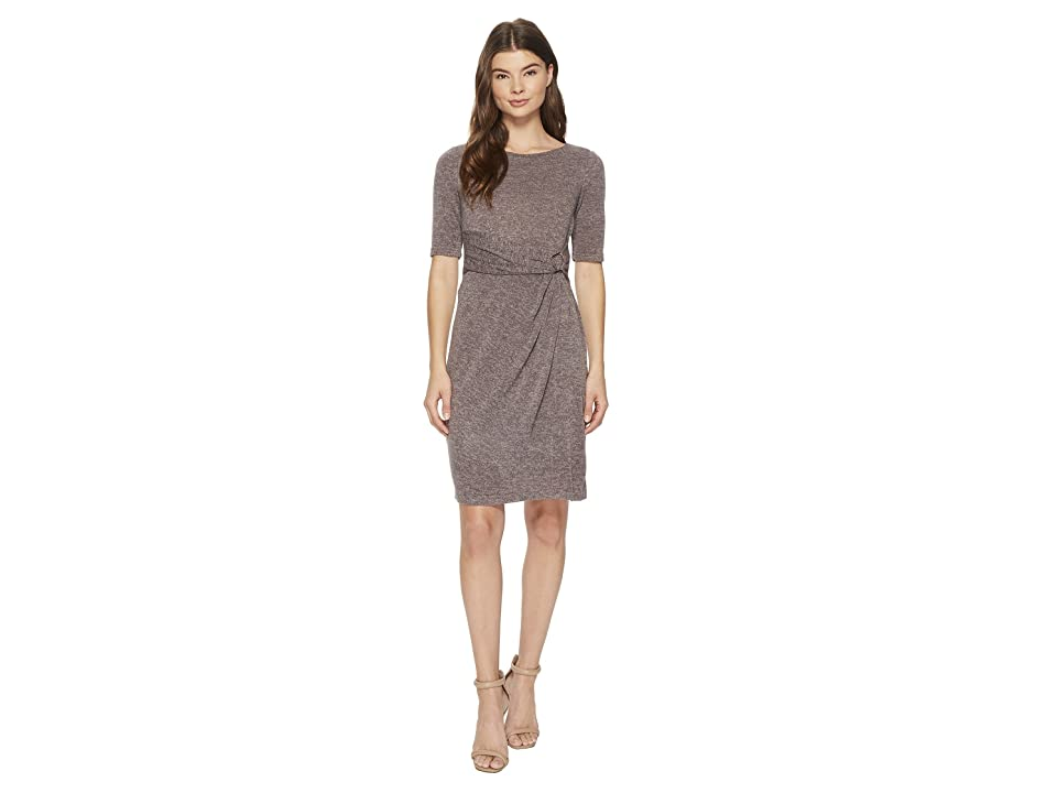 Ellen Tracy Sweater Dress with Hardware Detail At The Waist (Taupe) Women