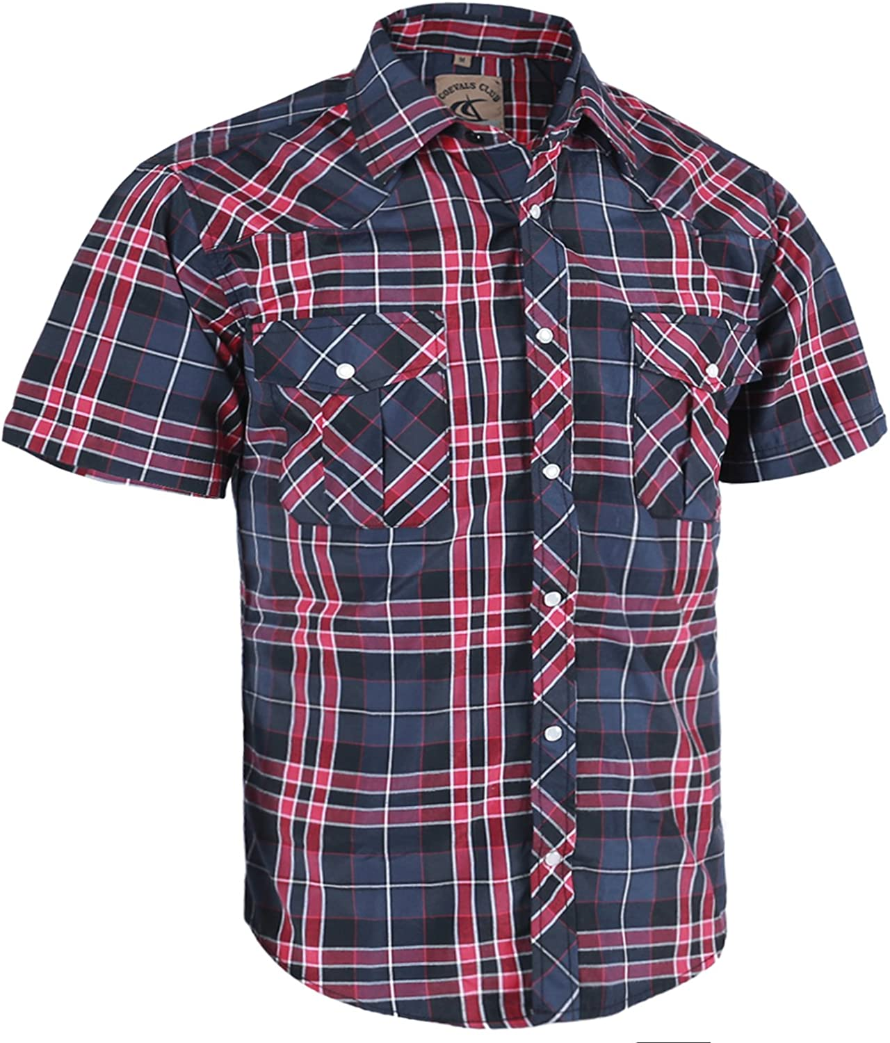 Coevals Club Men's Casual Plaid Pearl Button Snap Front Short Sleeve Shirt Regular Fit (Black/red #12, S)