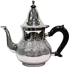 Marokański dzbanek do herbaty z mosiądzu posrebrzany 800 ml z sitkiem i uchwytem z tworzywa sztucznego | orientalny dzbane...