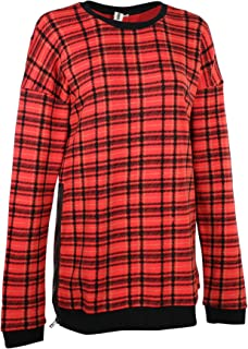 Women's Morning Bell Plaid Crewneck Sweatshirt in Red