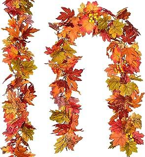 DearHouse 2 Pcs Fall Garland Maple Leaf, 5.9Ft/Piece Hanging Vine Garland Artificial Autumn Foliage Garland Thanksgiving D...