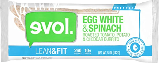 EVOL Lean and Fit Egg White and Spinach Breakfast Burrito, 10 Grams of Protein Per Serving, 5 Ounce (Frozen)
