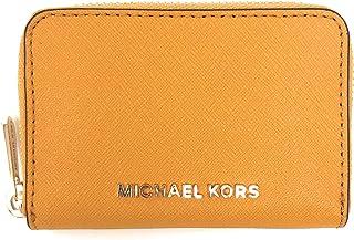 b96c951bf087 Michael Kors Jet Set Travel Card Case Zip Around Leather Wallet (Marigold)