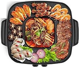 Grill électrique portable, Grillades d'intérieur, barbecue électrique et pot chaud.Tabletop Grill et Fondue avec revêtemen...