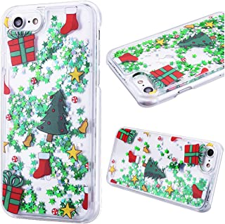 iPhone 7 Case 4.7 inch, CinoCase 3D Creative Liquid Case [Christmas Collection] Flowing Quicksand Moving Stars Bling Glitter Snowflake Christmas Tree Santa Claus Hard Case for iPhone 7 (tree)