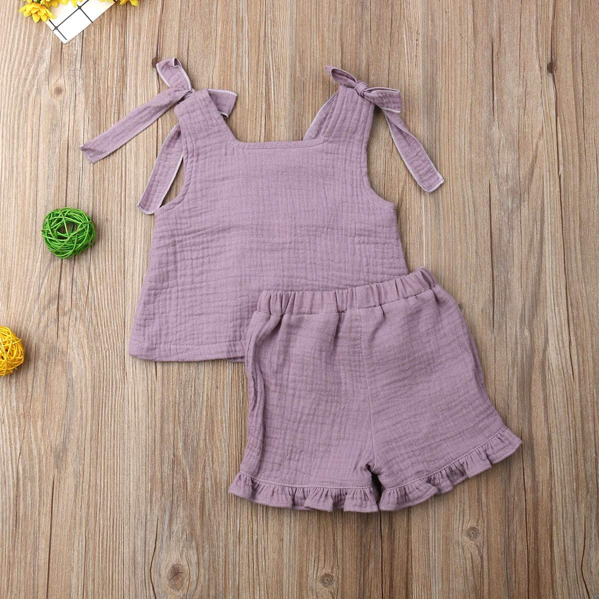 Baby Girls Cotton Linen Blend Straps Top and Bubble Shorts Ruffle Outfit Set