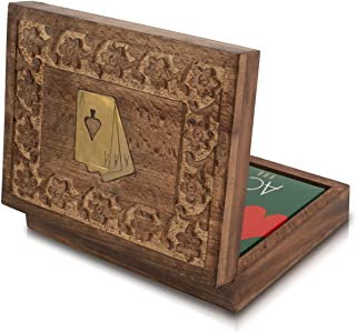 Rustic Birthday Gift Ideas Handcrafted Classic Wooden Playing Card Holder Deck Box Storage Case Organizer With 2 Sets of P...