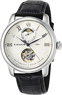 Thomas Earnshaw Men's Longitude MOONPHASE Stainless Steel Mechanical-Hand-Wind Watch with Leather Strap, Black, 22 (Model: ES-8066-01