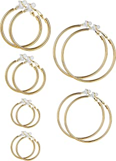 6 Pairs Earrings Clip On Earrings Non Piercing Earrings Set for Women and Girls, 6 Sizes (Gold, 6 Pairs)