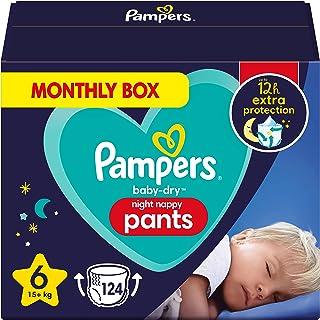 Pampers Baby-Dry Night Luierbroek Maat 6, 124 luiers 15kg+, Pampers Night Pants Bieden Extra Bescherming De Hele Nacht Lang