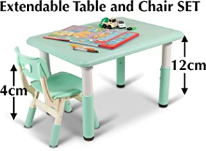 Home Canvas Kids Table and Chair Set, Height Adjustable, Light Blue Furniture Set for Boys or Girls