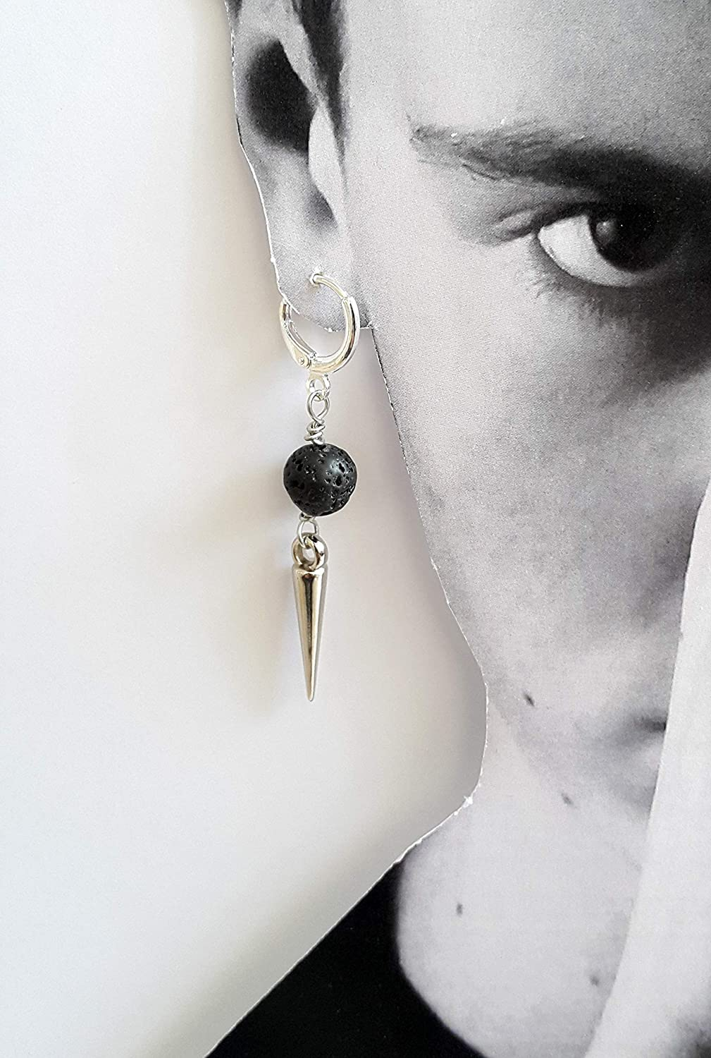 Men's spike Max 58% OFF earring - Large discharge sale stone silver earr lava