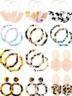 12 Pairs Acrylic Hoop Earrings Tortoise Earrings Mottled Statement Earrings Polygonal Drop Earrings for Women Girls