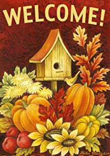 Toland Home Garden Fall Birdhouse 28 x 40 Inch Decorative Autumn Harvest  Welcome Double Sided House Flag