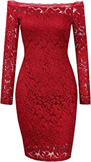 Women's Off Shoulder Sexy Lace Long Sleeve Dress