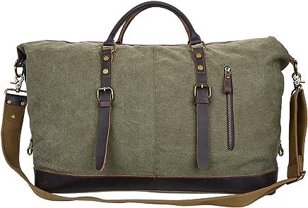 18f25992466a ALTOSY Canvas Duffel Bag Genuine Leather Travel Tote Duffle Shoulder  Handbag (Y2077