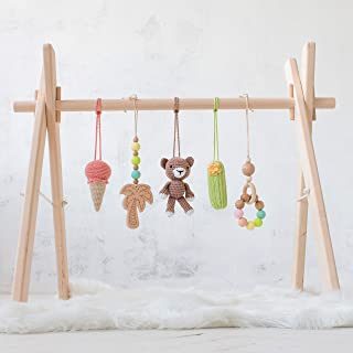 California Artisan Wood baby gym frame and activity gym with five mobiles by LanaCrocheting. Bear, Ice Cream Cone, Cactus, Palm tree. Wooden Foldable Baby Play Gym, Hanging bar, natural