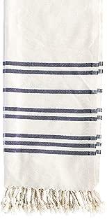 "Fair Seas Supply Co. Turkish Towel, Peshtemal Towel - 100% Organic Turkish Cotton - Quick Dry and Lightweight Thick Travel Towel, 39"" x 71"" Large - The Kai (Minimal Black and White Striped)"