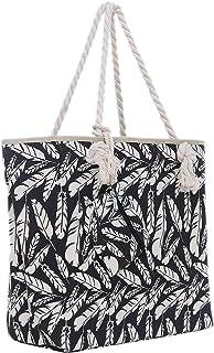Große Strandtasche mit Reißverschluss 58 x 38 x 18 cm Federn schwarz beige Shopper Schultertasche Beach Style