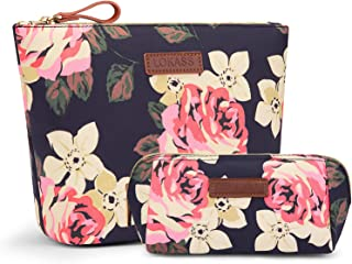 LOKASS Large Makeup Bag Small Cosmetic Pouch for Purse Handy Floral Makeup Bags Set Cute Travel Toiletry Organizer for Women, Cosmetics, Make Up Tools, Toiletries (2 in 1,Peony)