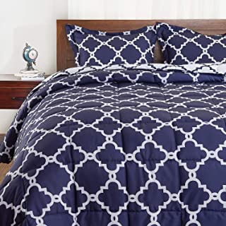Basic Beyond Down Alternative Comforter Set (King, Navy) - Reversible Bed Comforter with 2 Pillows Shams for All Seasons