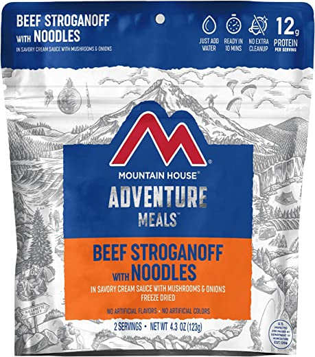Freeze Dried Backpacking and Camping Food, Beef Stroganoff with Noodles