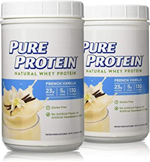 Pure Protein Powder, Natural Whey Protein, Low Sugar, Gluten Free, French Vanilla, 1.6 lbs, 2 Pack