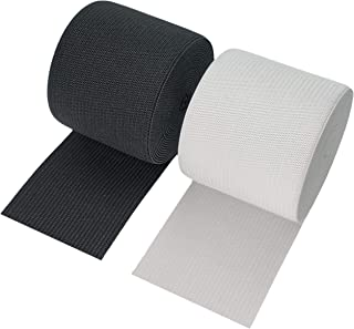 2 Inch Wide Heavy Stretch High Elasticity Knit Elastic Band 3 Yards Black and 3 Yards White