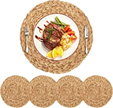 HomeDo 4Pack Extra Large Round Woven Placemats for Dining Table, Water Hyacinth Straw Braided Placemat, Heat Resistant Non-Slip Weave Placemats Handmade (Grass-4, 14.5''(37cm)) …