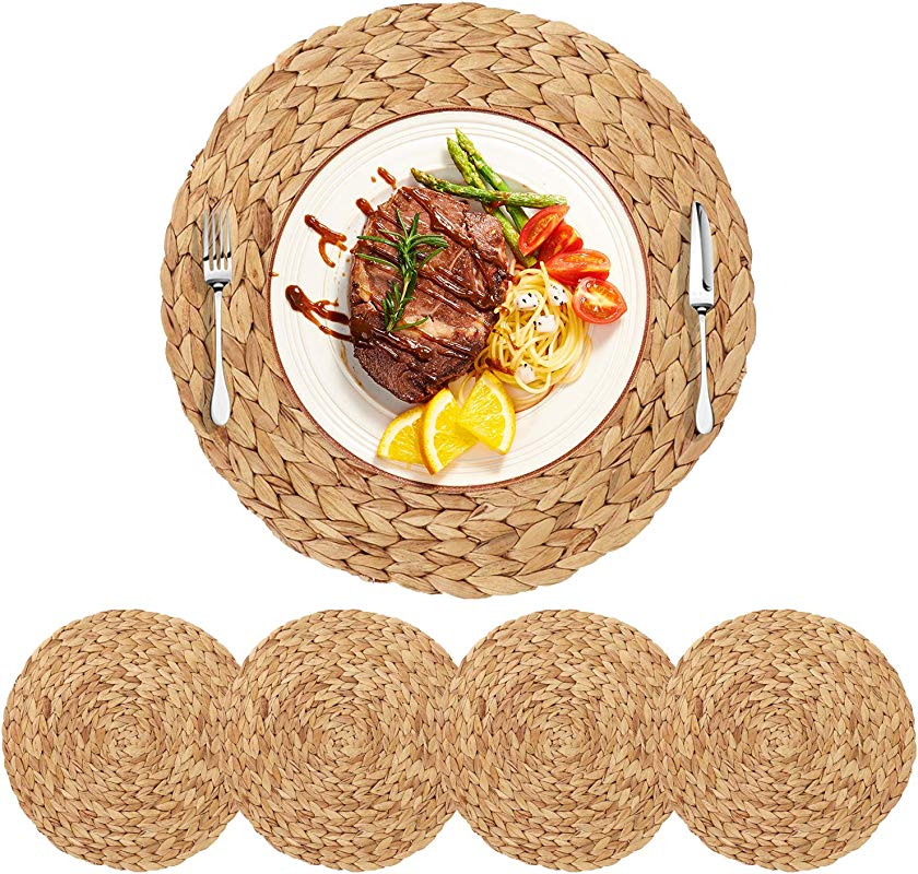 HomeDo 4Pack Extra Large Round Woven Placemats For Dining Table Water Hyacinth Straw Braided Placemat Heat Resistant Non Slip Weave Placemats Handmade Grass 4 14 5 37cm