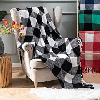 MIULEE Buffalo Check Plaid Throw Blanket Soft Cozy Lightweight Farmhouse Black and White Kintted Blanket Warm for Couch So...