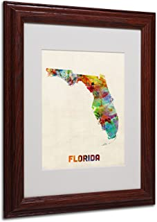 Trademark Fine Art Florida Map Matted Framed Art by Michael Tompsett in Wood Frame, 11 by 14-Inch