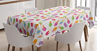 Ambesonne Ice Cream Tablecloth, Cartoon Style Cones with Vibrant Colored Creamy Scoops and Popsicles Tooth, Rectangular Table Cover for Dining Room Kitchen Decor, 60