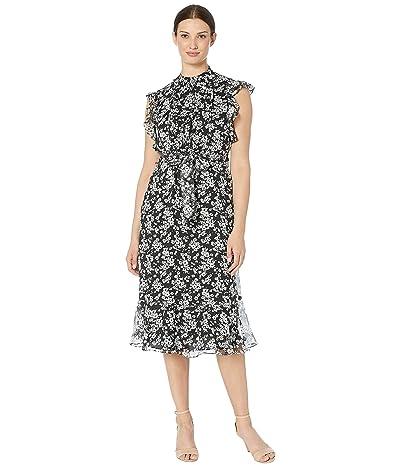 LAUREN Ralph Lauren Floral Georgette Dress (Polo Black/Silk White) Women