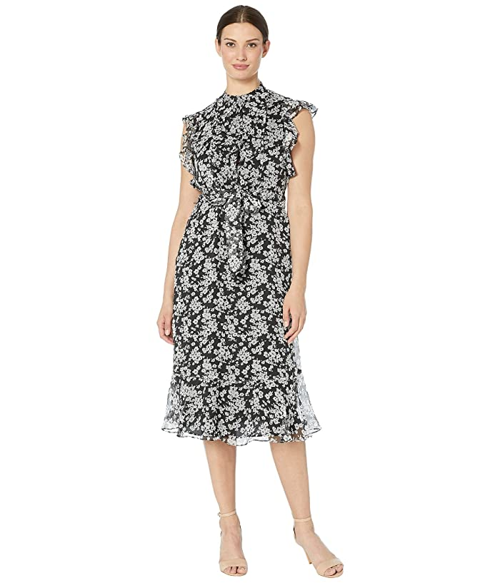 1930s Day Dresses, Afternoon Dresses History LAUREN Ralph Lauren Floral Georgette Dress Polo BlackSilk White Womens Dress $156.45 AT vintagedancer.com