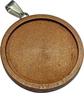 12 Pieces Wooden Pendant Trays Round Cabochon Bases Settings for Jewelry Making Crafts (Inner Diameter: 30 mm/ 1.18 inch)