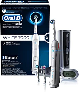 Oral-B 7000 SmartSeries Rechargeable Power Electric Toothbrush with Bluetooth Connectivity and Travel Case, White