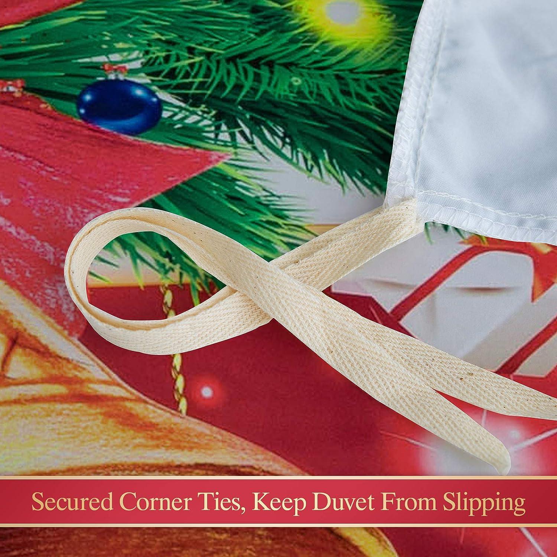 Argstar 3 Pcs King 3D Christmas Duvet Cover 1 Duvet Cover and 2 Pillow Covers Jingling Bell 100/% Soft Microfiber Green Grass and Present Pattern Bedding Set