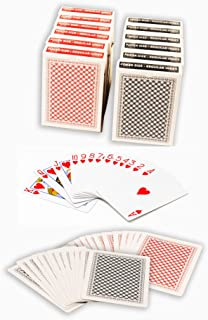 ChipsAndGames Value Pack of 12 Decks of Paper Playing Cards with Plastic Coating, 6 Red and 6 Blue