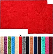 Red Bath Rug Set Floor Non Slip Bathroom Mat ORANIFUL Microfiber Shaggy Toilet Mat Plush Super Water Absorbent Machine Was...
