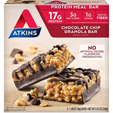 Atkins Protein Meal Bar, Chocolate Chip Granola, Keto Friendly, 5 Count