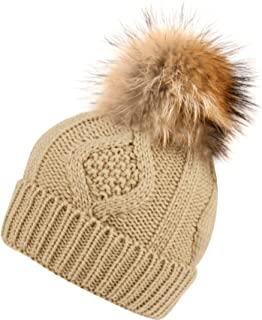 ANGELA & WILLIAM BN2355 Solid Cable Knit Real Raccoon Fur Pom Pom Skull Cap Hat Beanie