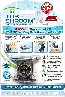 TubShroom Revolutionary Bath Tub Drain Protector Hair Catcher/Strainer/Snare Black Chrome