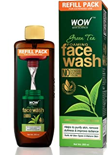 WOW Skin Science Green Tea Foaming Face Wash Refill Pack - With Green Tea & Aloe Vera Extract - For Purifying Skin- For Ex...